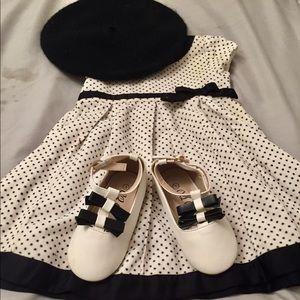 NEW Infant Girl Carter's 12m Black Polka Dot Dress